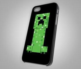 For iPhone 4/4S - Minecraft creeper black - Photo on Hard Cover